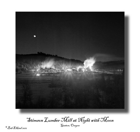 lumber mill at night with moon bw