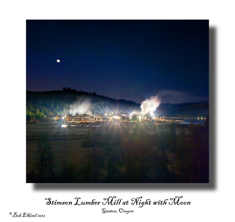 lumber mill at night with moon sat
